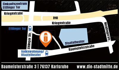 Eventlocation Karlsruhe - die Stadtmitte-Karte